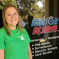 Continuing with community support, Amelia received a scholarship from Major Alarm, Inc.